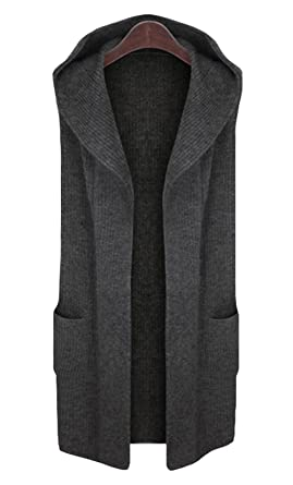 1607fd4dd9 CLJJ7 Women s Open Front Mid-long Hooded Knit Cardigan Sweater Vest at Amazon  Women s Clothing store