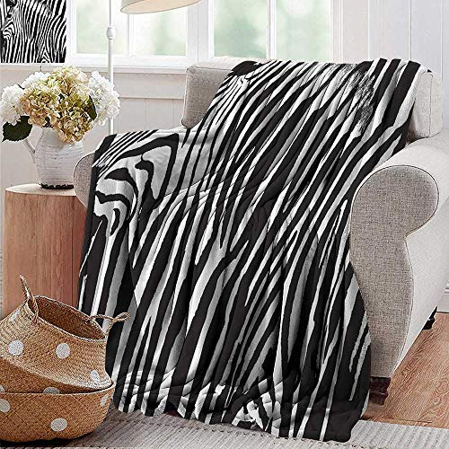 (PearlRolan Faux Fur Throw Blanket,Zebra Print Decor Collection,Zebra Design with Animal Blended Over Itself to Create an Abstract Pattern,Black White,Soft Fabric for Couch Sofa Easy Care 50