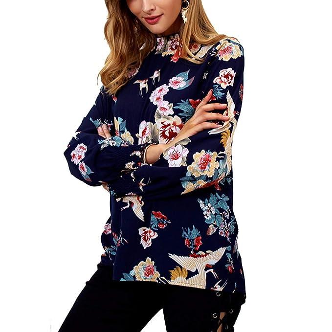 Blusa de impresión Floral Tortuga Mangas largas Blusa Casual Mujer Camisa de Gasa (Color :