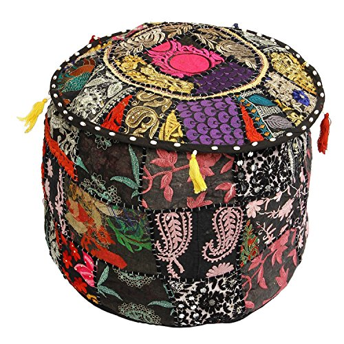 Beautiful HANDMADE Christmas Decorative Bohemian Ottoman Patchwork Ottoman Indian Embroidered Indian Vintage Cotton Round Pouf Foot Stool , Vintage Ottoman Bohemian Decor (Cover Only) by GANESHAM