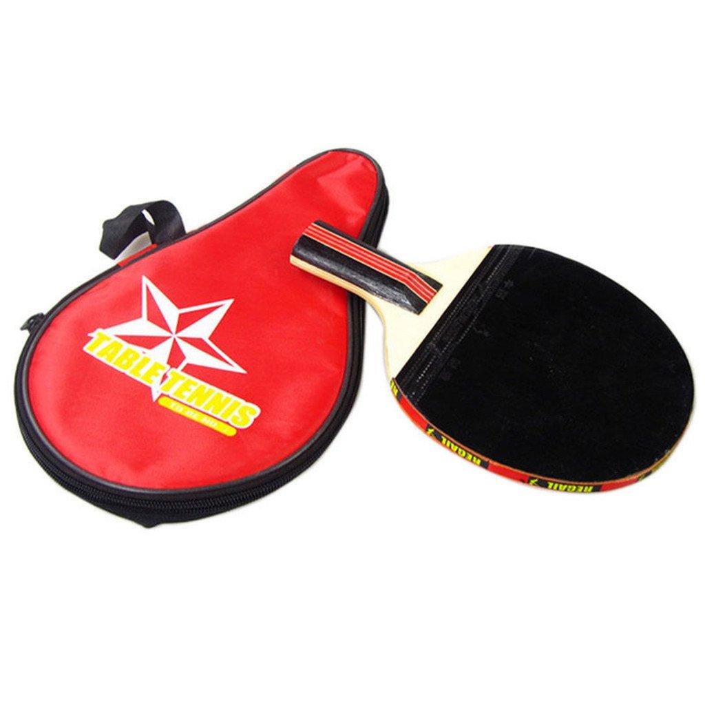 ulkemeテーブルテニスラケットロングハンドルピンポンパドル+防水Carringバッグ新しい B076ZKRTNT レッド