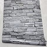 HaokHome 1633 Faux Stone Peel and Stick Wallpaper Dk.Gray Self Adhesive Contact Paper