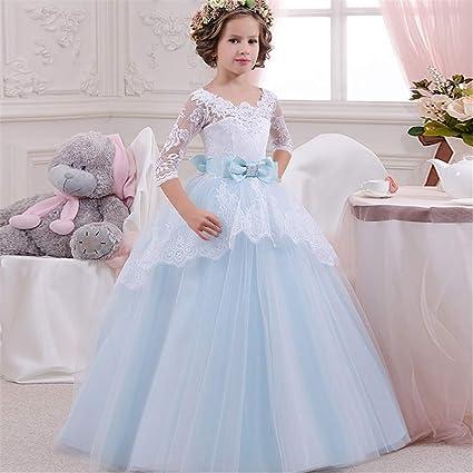Styhatbag Vestidos Formales de Fiesta Vestido de Novia para niños Niñas Mangas de Siete Puntos Encaje