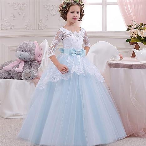 Vestito per bambini Abito da sposa per bambini Ragazze Maniche a sette  punte Prestazioni in pizzo f3ec6d6424f