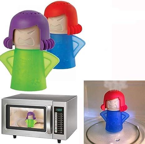 f/ácil de limpiar en minutos desinfecta con vinagre y agua 2 unidades de limpiador de vapor de horno de microondas Angry Mama herramienta limpiadora de cocina azul Abnaok Limpiador de microondas