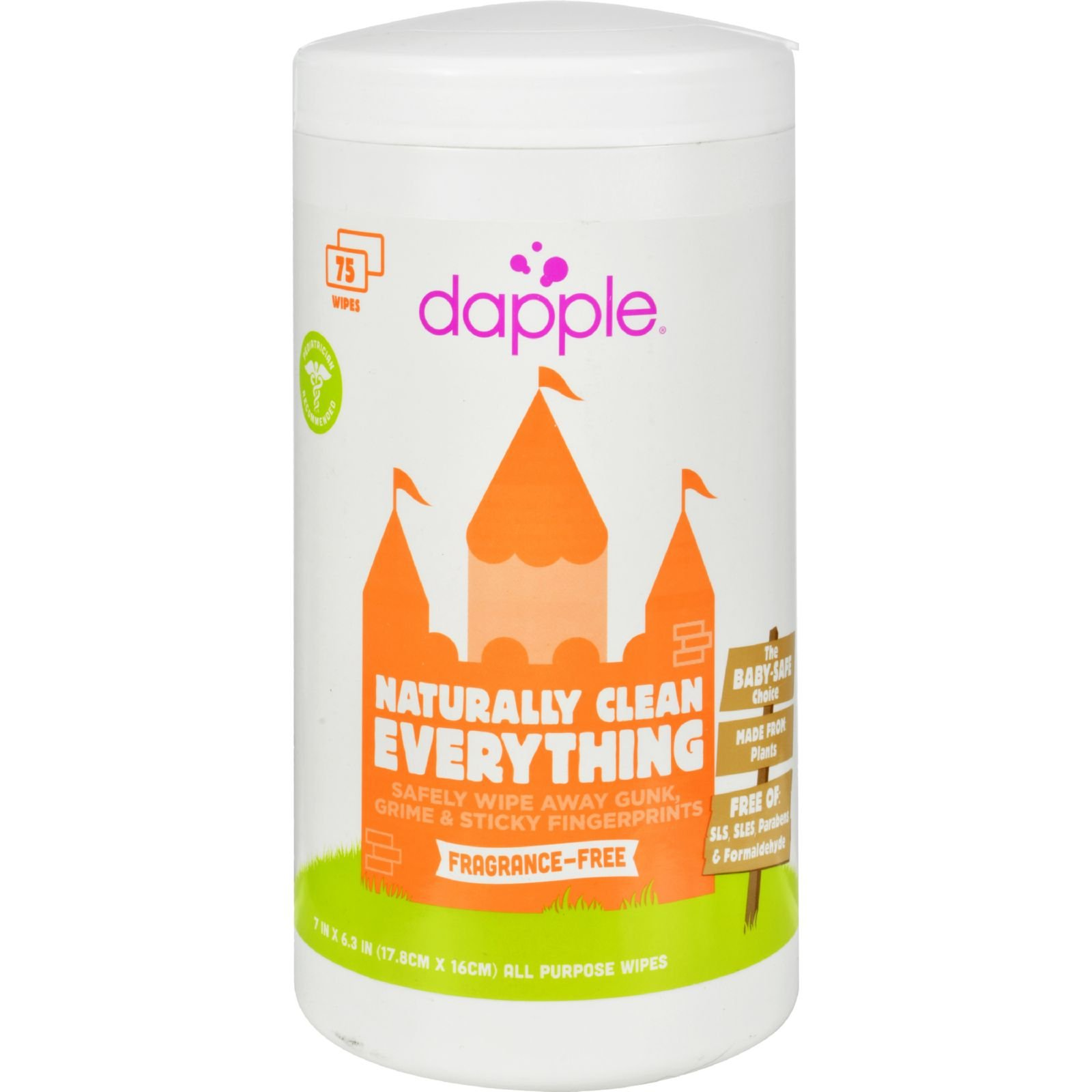Dapple Surface Wipes for Highchairs, Toys and More Fragrance Free - All Purpose - 75 Wet Wipes (Pack of 4)