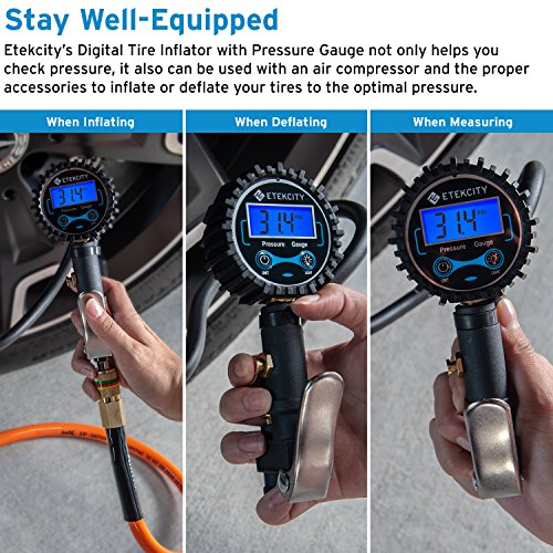 Etekcity Digital Tire Inflator Pressure Gauge, Heavy Duty 250 PSI Air Chuck and Compressor Accessories with Rubber Hose and Measure Accuracy of 0.1 Display Resolution, Black by Etekcity (Image #3)