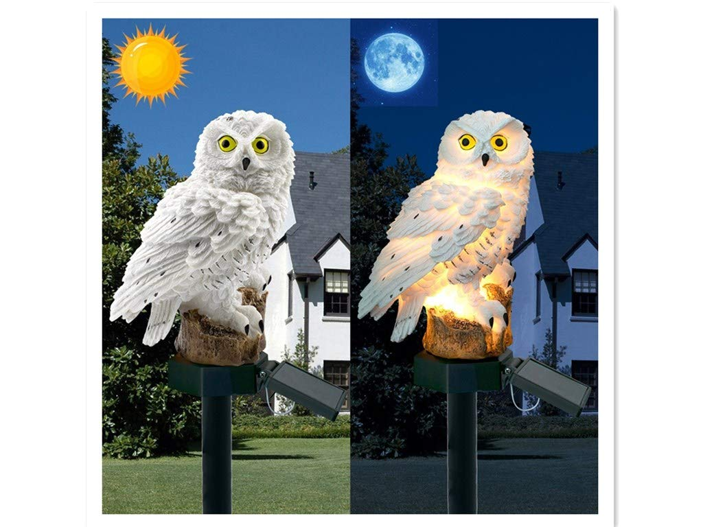 Pathsdie 5PCS Solar Sensor Light Street Light Outdoor Garden Lawn Light Outdoor Decoration Solar Light Household Lighting Flood Light Solar Owl Landscape Light (White)