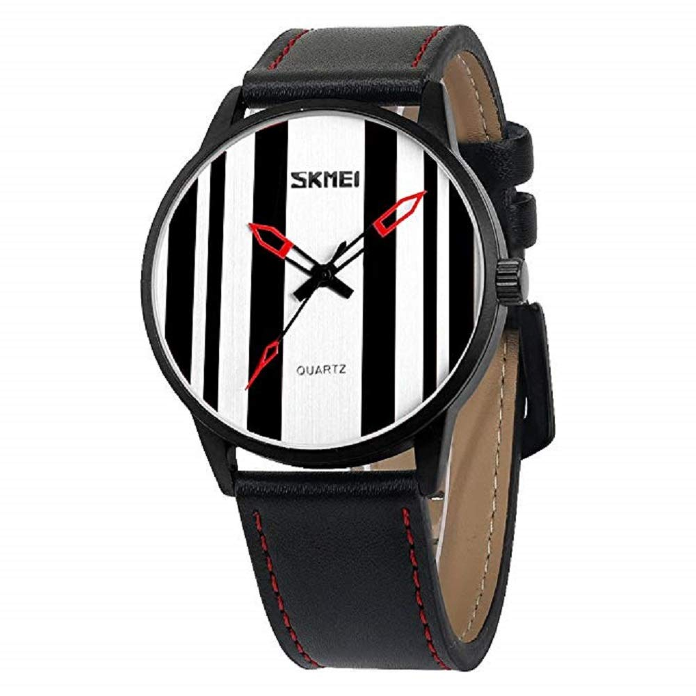 V.JUST Fashion Leather Quartz Analogue Watch Personalied Stripe Dial Water Resistance 30M for Boys Girls Age 3-13