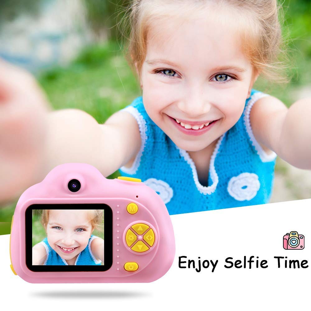SHCY Best Gift for 3-8 Year Old Kids, Kids Camera for Girls, Outdoor Toys for 4-7 Year Old Girls Boys Children,8MP HD Video Camera, Pink(32GB SD Card Included) by SHCY (Image #3)