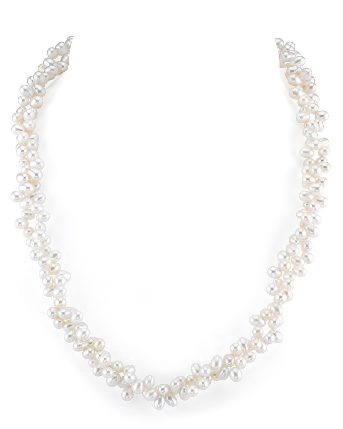 4-5mm Genuine White Freshwater Cultured Pearl Necklace for Women