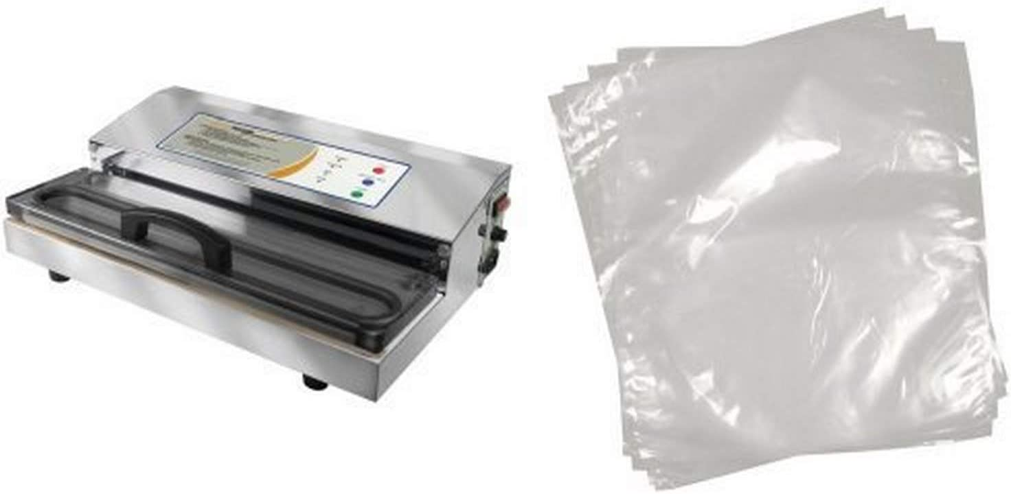 Weston Pro-2300 Stainless Steel Vacuum Sealer and Weston 11-by-16-Inch Vacuum-Sealer Food Bags, 100 Count Bundle