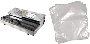 Weston Pro-2300 Stainless Steel Vacuum Sealer and Weston 6-by-10-Inch Vacuum-Sealer Food Bags, 100 Count Bundle
