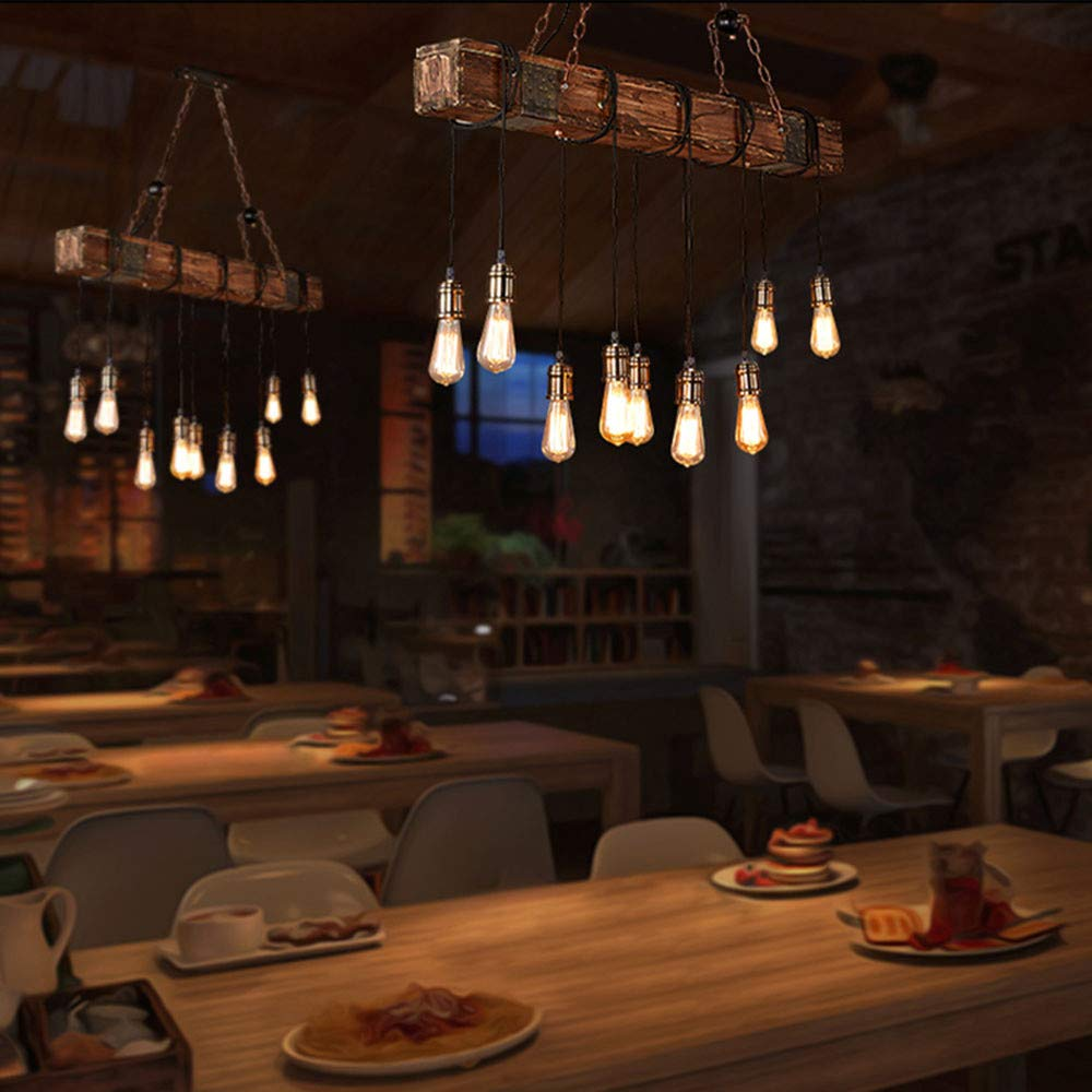 10 Sockel Pendelleuchte Vintage Pendellampe H/öhenverstellbar Holz Retro Industrial H/ängeleuchte Kronleuchter E27 Lampe f/ür Esstisch K/üche Wohnzimmer Bar Cafe