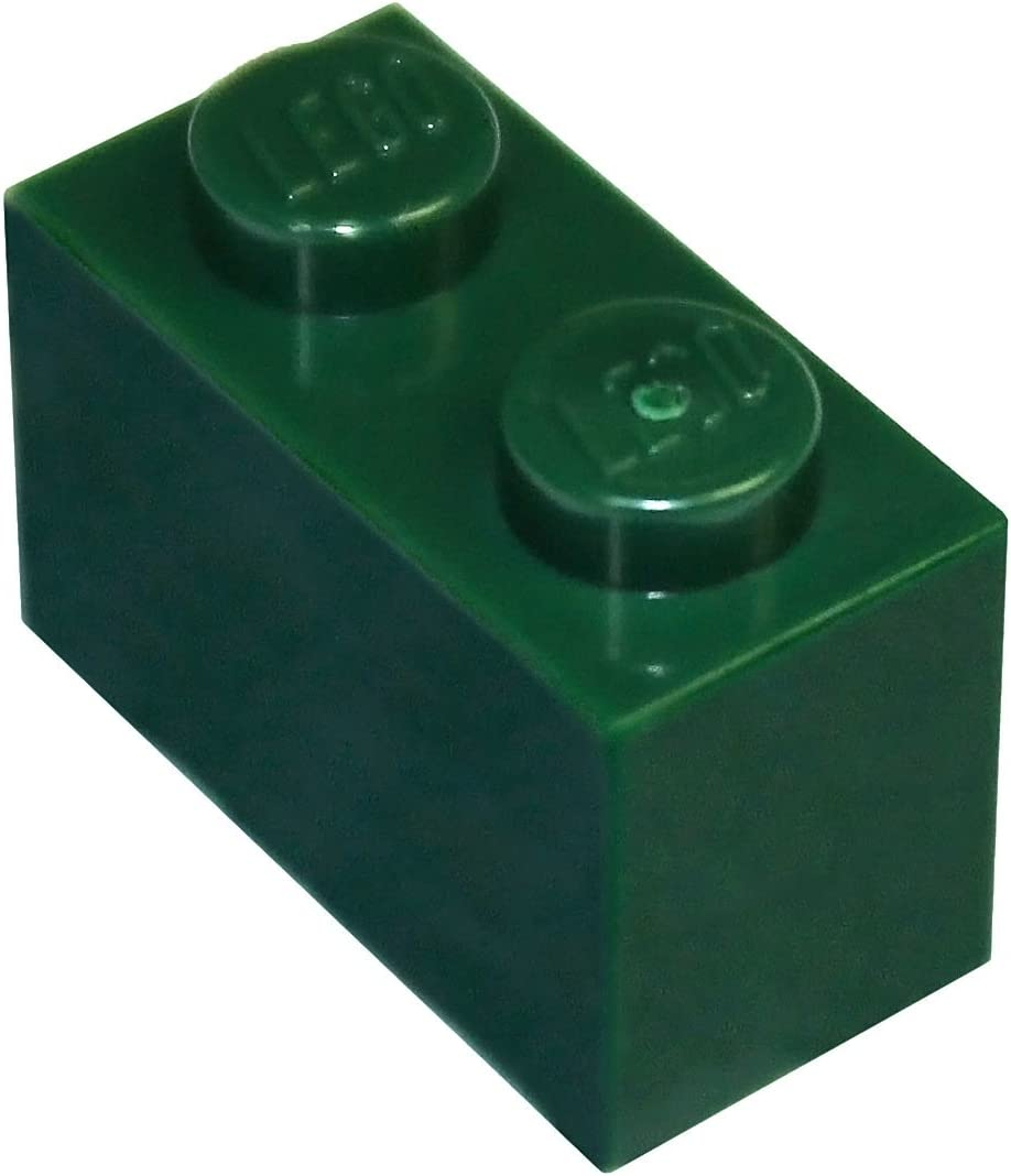 LEGO Parts and Pieces: Dark Green (Earth Green) 1x2 Brick x50