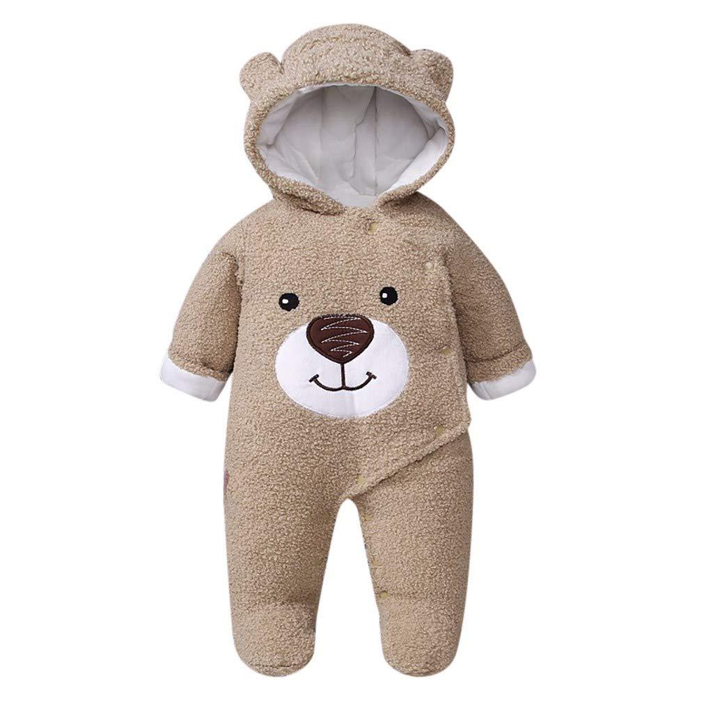 PLENTOP Toddler Boys Clothes Outfits,Infant Baby Girls Boys Bear Winter Zip Thick Snowsuit Hoodie Coat Jumpsuit Khaki by PLENTOP