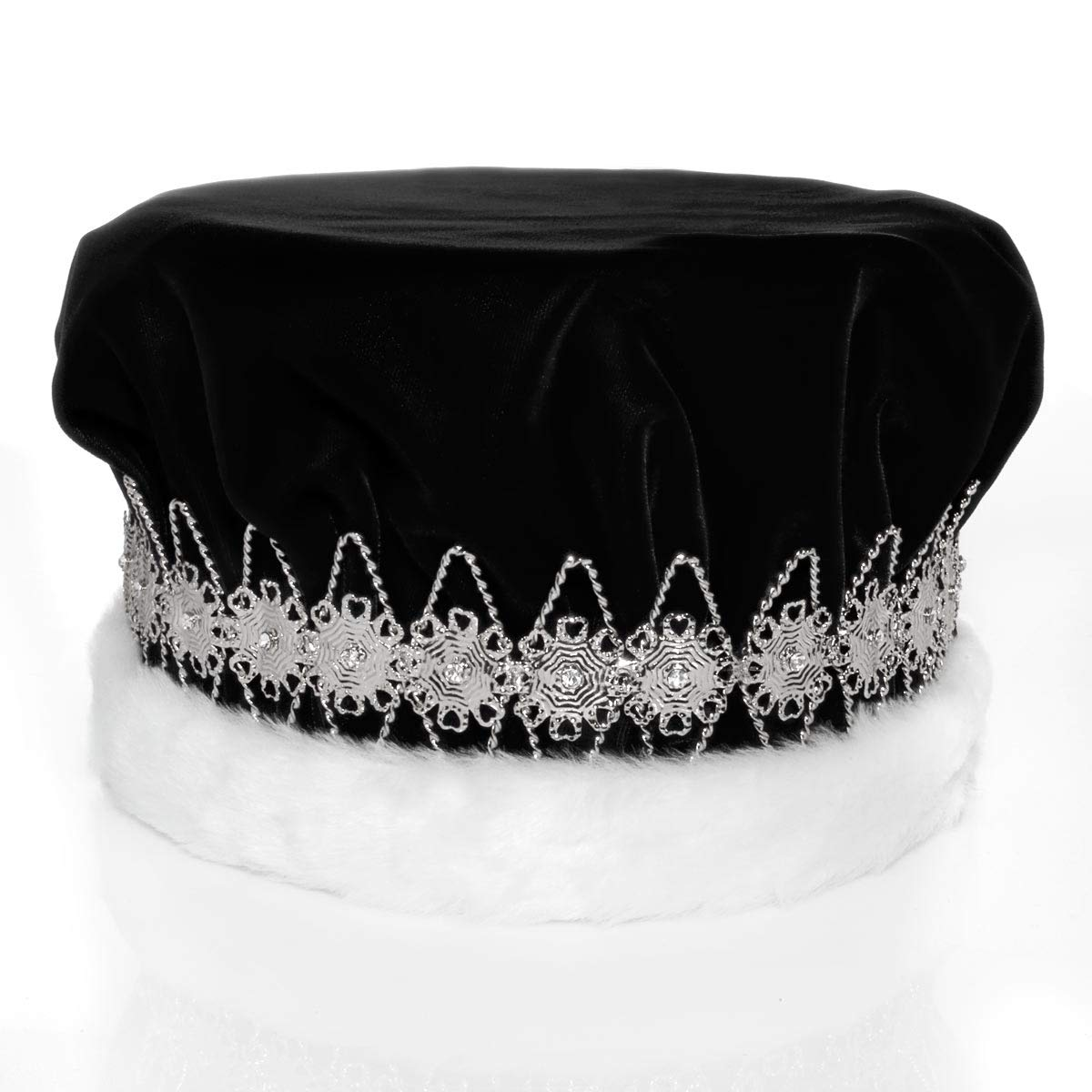 Black Velvet Regal Crown with White Faux Fur Trim and Silver Floral Band, 6 1/2'' high