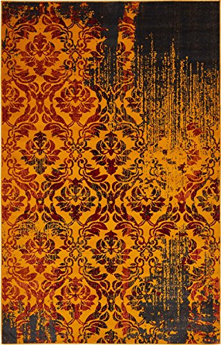 Luxury Modern Vintage Inspired Overdyed Area Rugs Orange 5' x 8' FT Artis Designer Rug Colorful Craft Rugs and Carpet