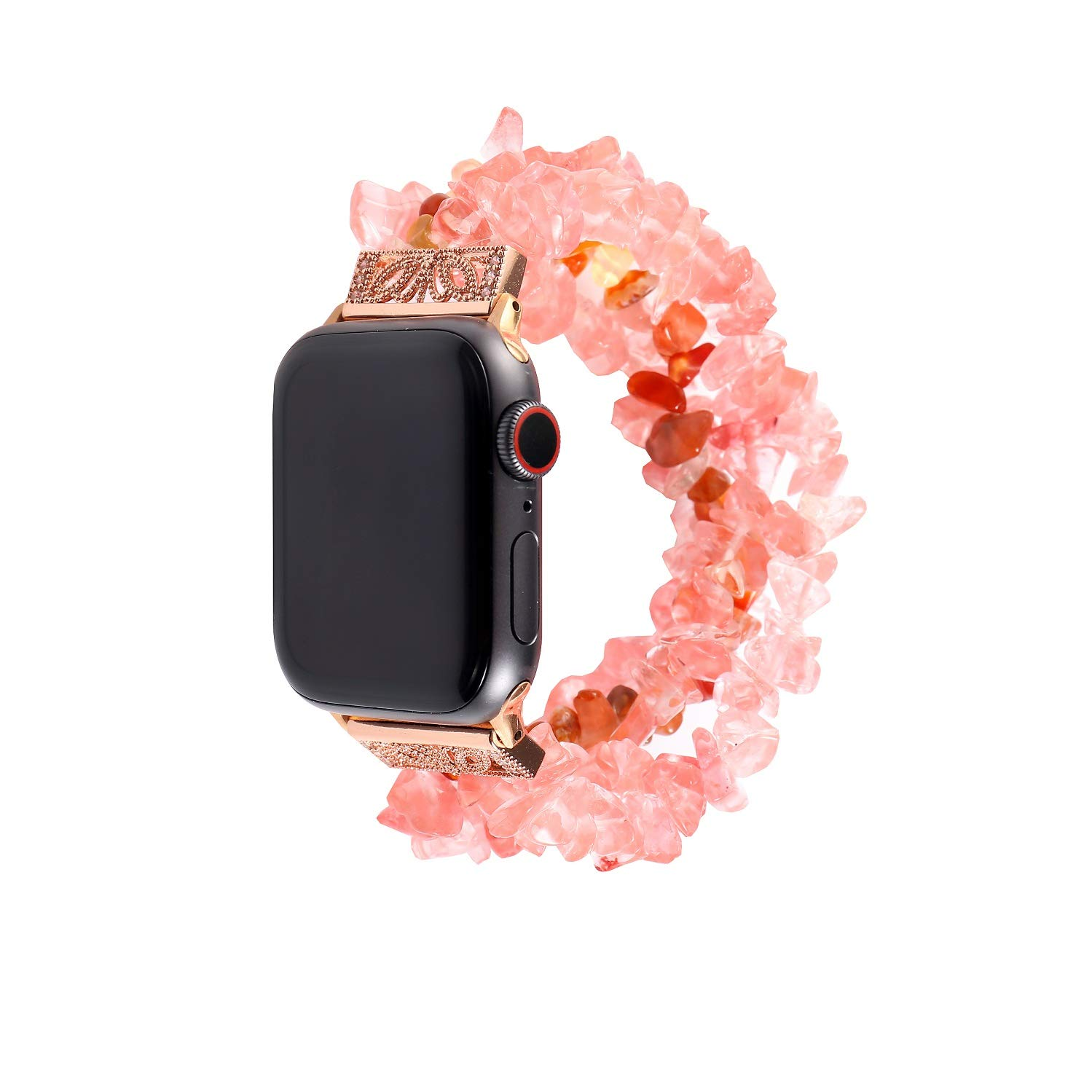 Juzzhou Replacement for Watch Band Apple iWatch Sport Edition Handmade Beaded Faux Natural Bling Stone Crystal Agate Jewels Elastic Stretch Wrist Strap Wristband Wriststrap Girl Women 38mm 40mm by Juzzhou