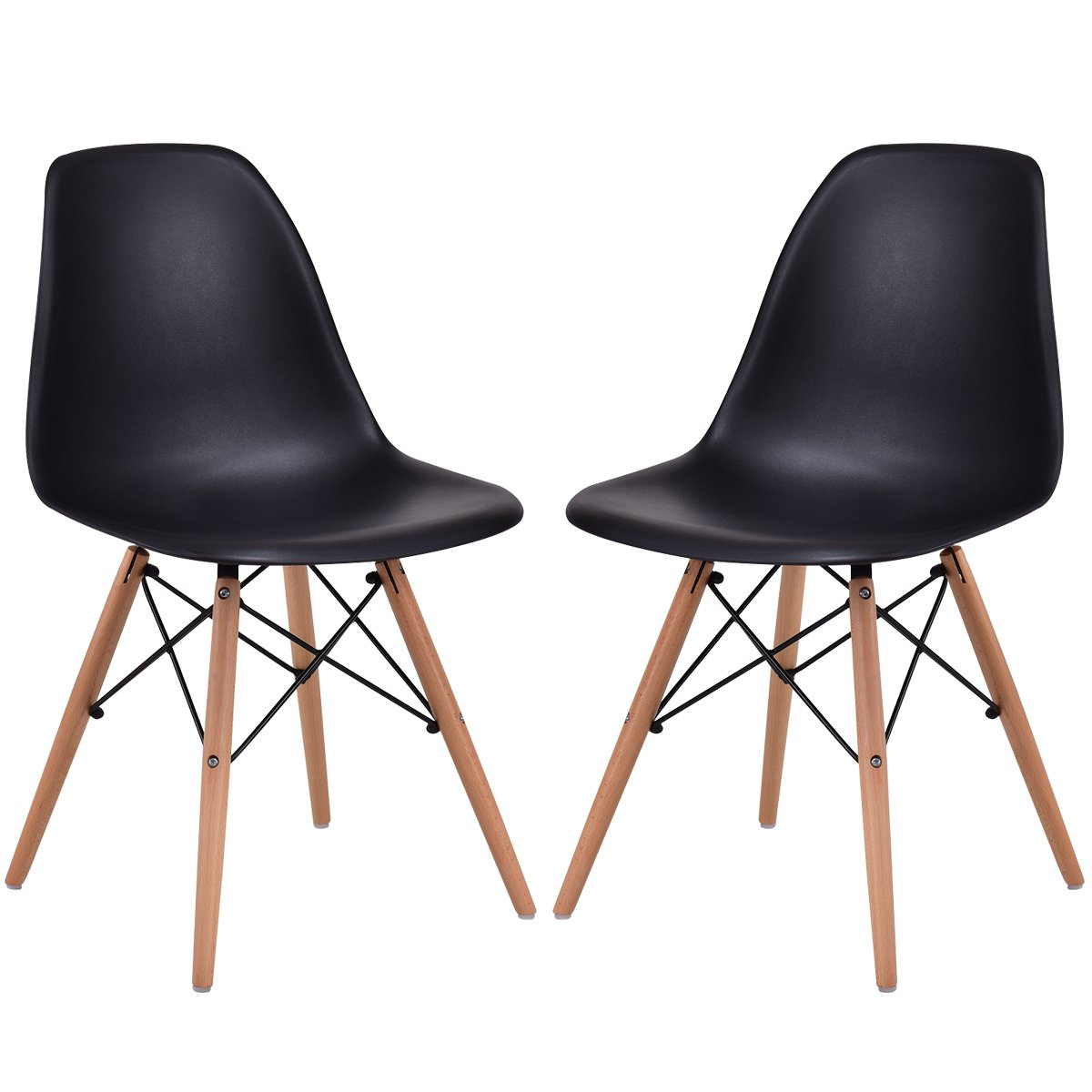 Giantex Set of 2 Dining Chair Armless Mid Century Modern Style Plastic Seat Wood Dowel Legs for Bedroom Accent Living Room DSW Chair (Black)
