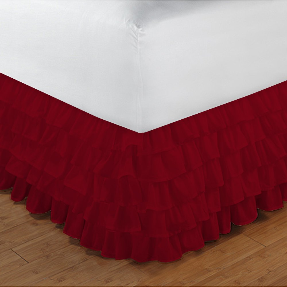 Relaxare Olympic Queen 300TC 100% Egyptian Cotton Burgundy Solid 1PCs Multi Ruffle Bedskirt Solid (Drop Length: 17 inches) - Ultra Soft Breathable Premium Fabric