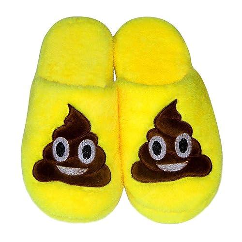 LUOEM Zapatillas de Estar por Casa Zapatillas Peluche Algodón Cómodas Pantuflas Invierno Antideslizante (Amarilla Divertida Cara Sonriente Caca): Amazon.es: ...