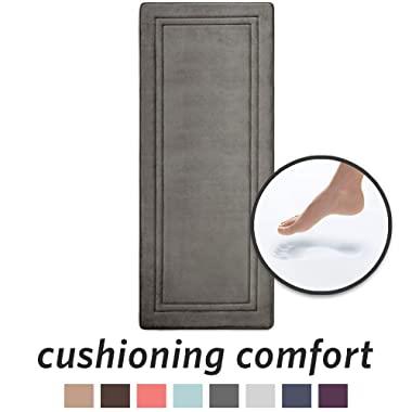 "MICRODRY Quick Drying Memory Foam Framed Bath Mat Runner with GripTex Skid Resistant Base | 24"" x 58  