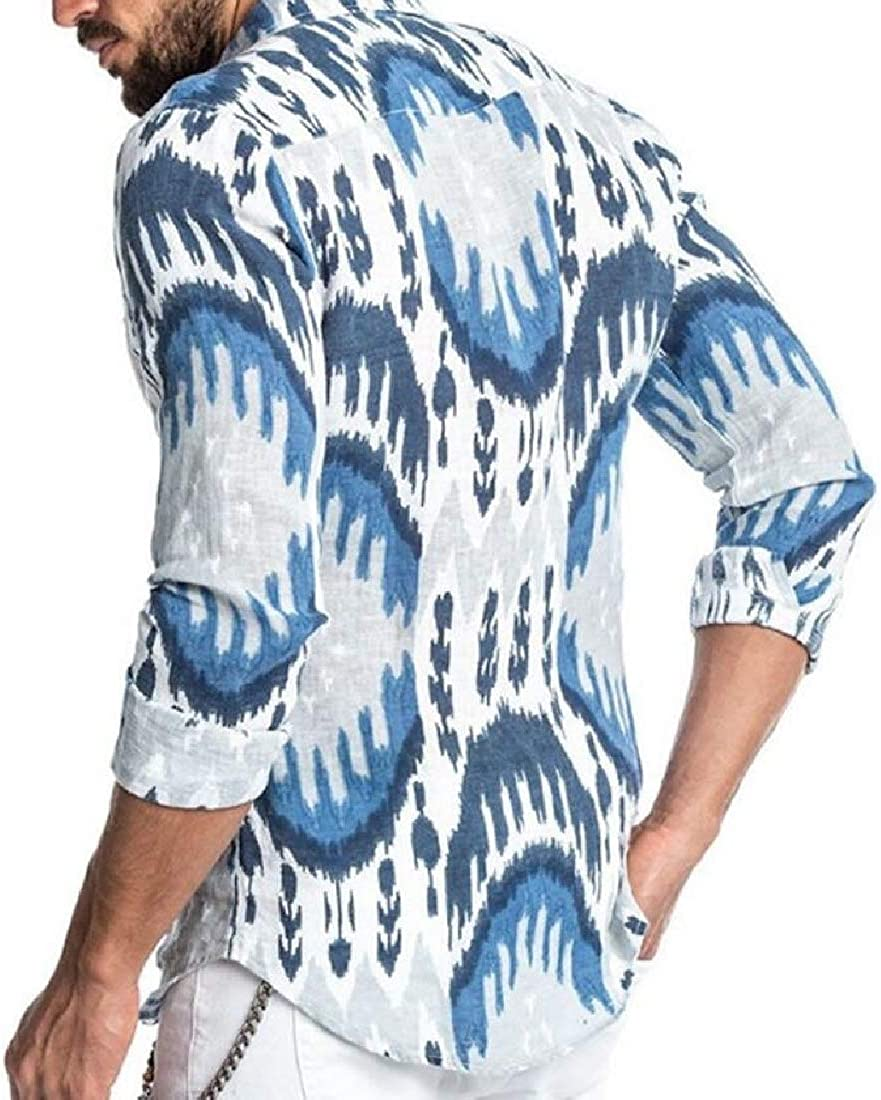 Alion Mens Shirt Floral Print Slim Fit Casual Printed Long Sleeve Button Down Shirts