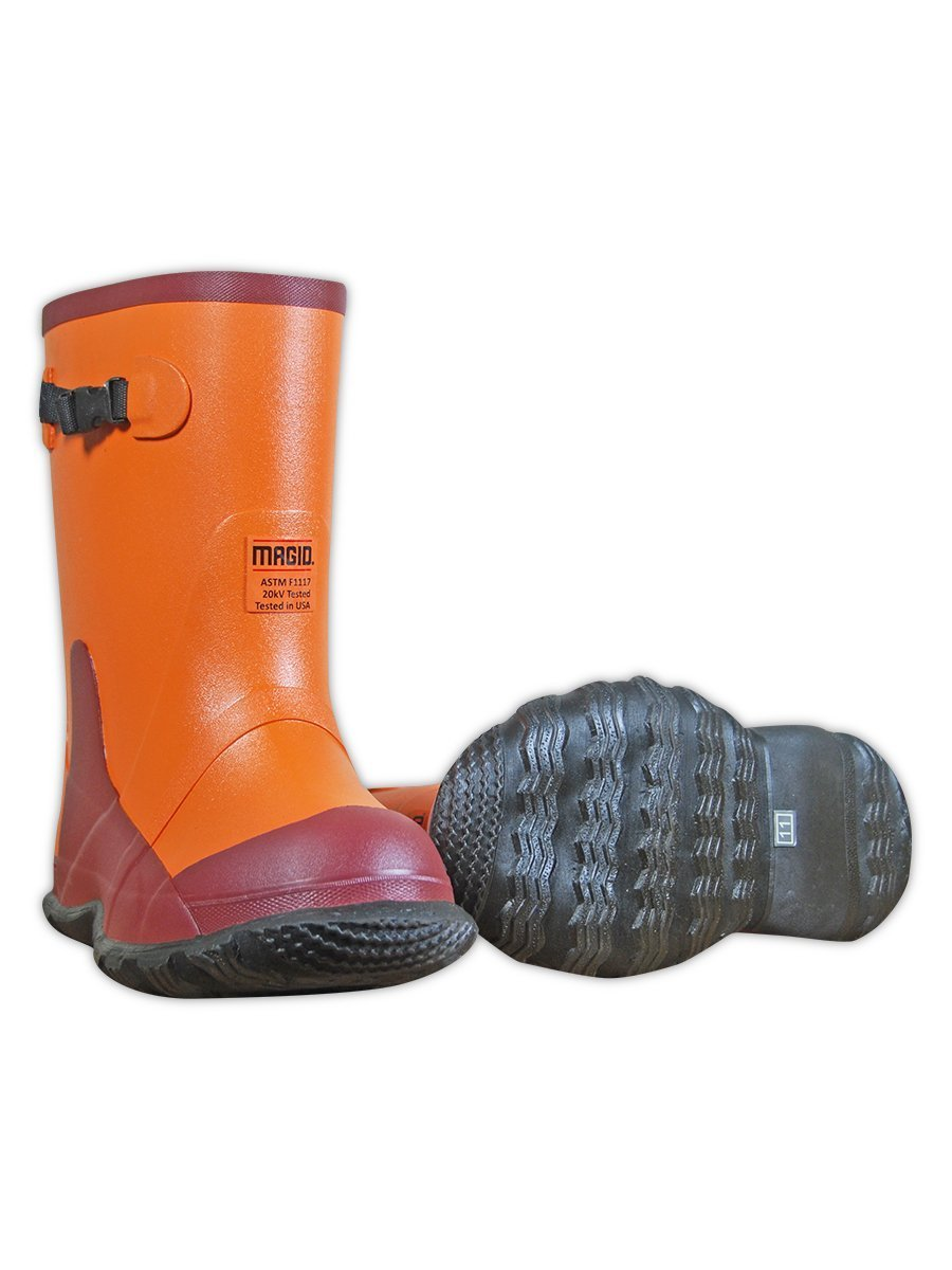 Magid Safety Dielectric Overboots | ASTM F1116 Compliant Premium Grade Ozone Resistant Rubber Boots - Orange/Red, Size 10 (1 Pair)