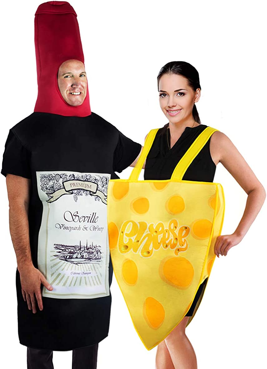 Tigerdoe Couples Costumes - Wine & Cheese Costume - Funny Adult Halloween Costumes - Food Costume - 2 Pc