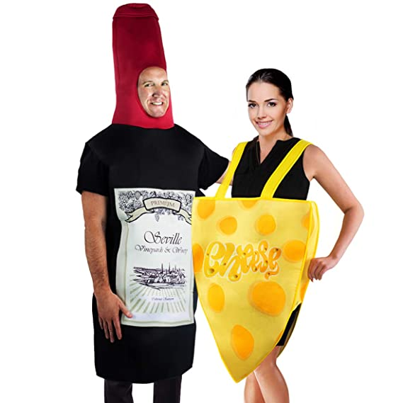Food Halloween Costumes.Tigerdoe Couples Costumes Wine Cheese Costume Funny Adult Halloween Costumes Food Costume 2 Pc Amazon In Clothing Accessories