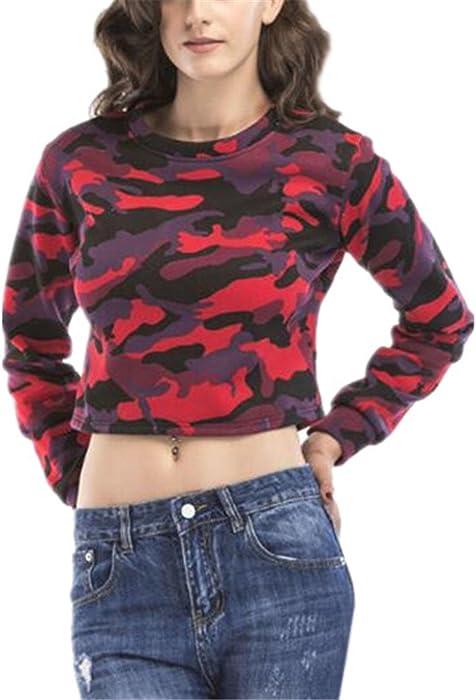 Tayaho Sudaderas Mujer Pullover Crop Cortas Top Camuflaje Sexy Sudaderas Hipster Personalizadas Jersey de Manga Larga Cuello Redondo