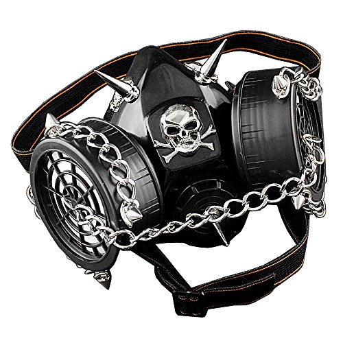 SteamPunk Chain Spike Vintage Cosplay Masuqes Gas Mask Respirator M2]()