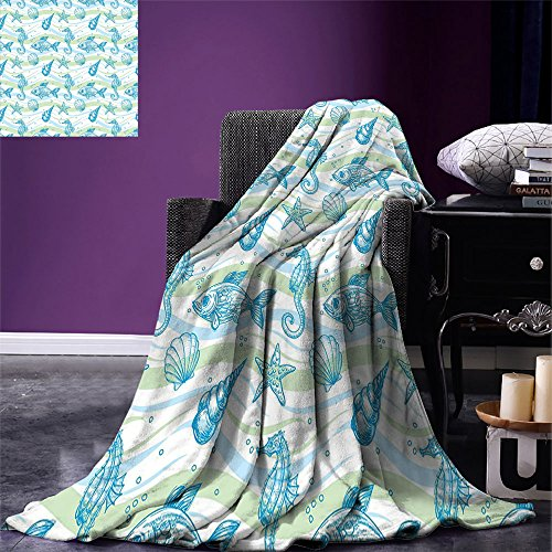 smallbeefly Nautical Throw Blanket Marine Ocean Shell Starfish Oyster Mollusk Sea Horse Underwater Aquatic Pattern Warm Microfiber All Season Blanket for Bed or Couch Mint Blue
