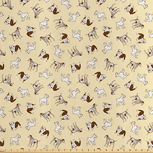Lunarable Dalmatian Fabric by The Yard, French Bulldogs Terrier Labrador Joyful Friends Pets Company, Decorative Satin Fabric for Home Textiles and Crafts, 10 Yards, Pale Yellow Chocolate ()