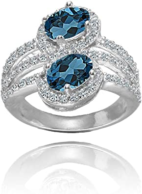 Blue Topaz and White Topaz Gemstone 925 Sterling Silver Solitaire Halo Star Design Ring
