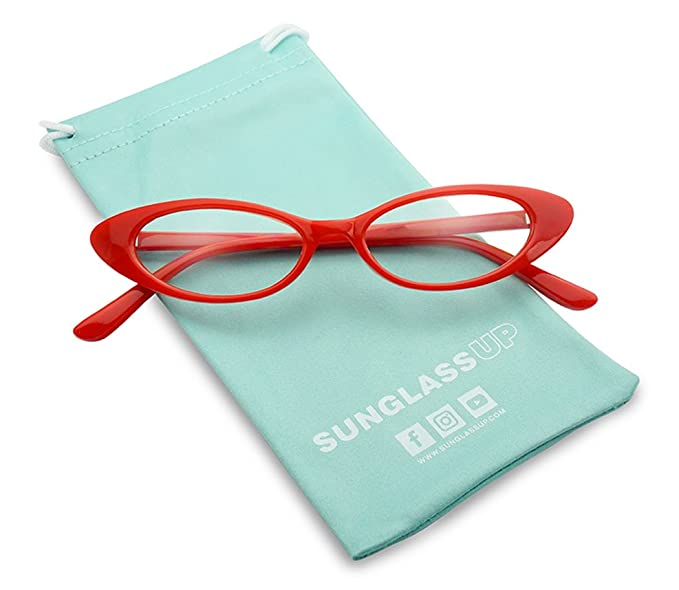 d4b08b6ced357 Small Slim Narrow 90 s Vintage Oval Clout Cat Eye Clear Lens Eyewear Sun  Glasses (Red