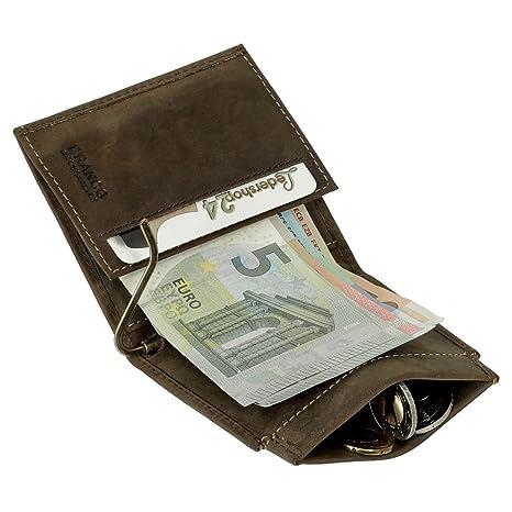 008ba312f3 Dollarclip portafoglio da uomo di cuoio, portamonete, con fermasoldi, nero,  marrone scuro