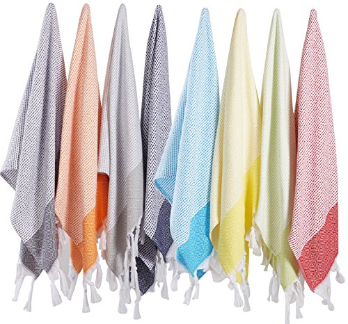 (Set of 8) Turkish Cotton Hand Face Head Guest Gym Towel Set Peshtemal Washcloth Kitchen Tea Towel Dish Cloth Set ()