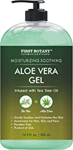 Aloe vera gel from 100 percent Pure Aloe Infused with Tea Tree Oil - Natural Raw Moisturizer for Hand Sanitizing Gel, Skin Care, Hair Care, Sun Burn, Acne & Eczema - 16.9 fl oz (Packaging May Vary)
