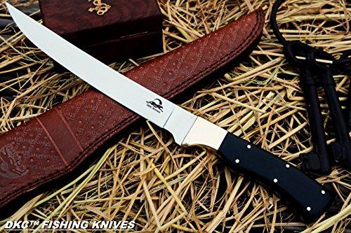 "DKC-950 Sale Canera Fishing Filet Knife 440c Stainless Steel Blade Handmade 7oz 12.5"" Long 7.5"" Blade"