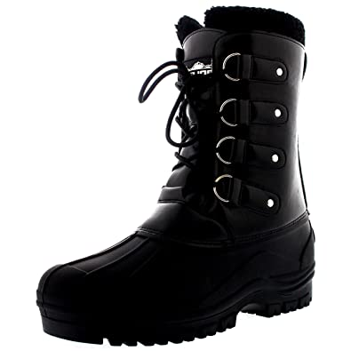 Polar Mens Snow Boots Fully Wool Lined With Cuff Waterproof Lace Up Muck Winter  Boots - e4ca25066f5