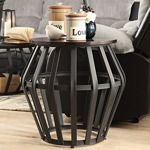 End Cage (Devon Metal Frame Round Cage Slate Accent End Table. Offers an Airy Modern Feel That Is Sure to Impress Guests with Its Spacious Design. This Table Will Suit Modern or Classic Interiors.)