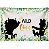 Funnytree 7x5ft Soft Fabric Wild One 1st Birthday Party Backdrop No Wrinkles Durable Animals Themed Photography…