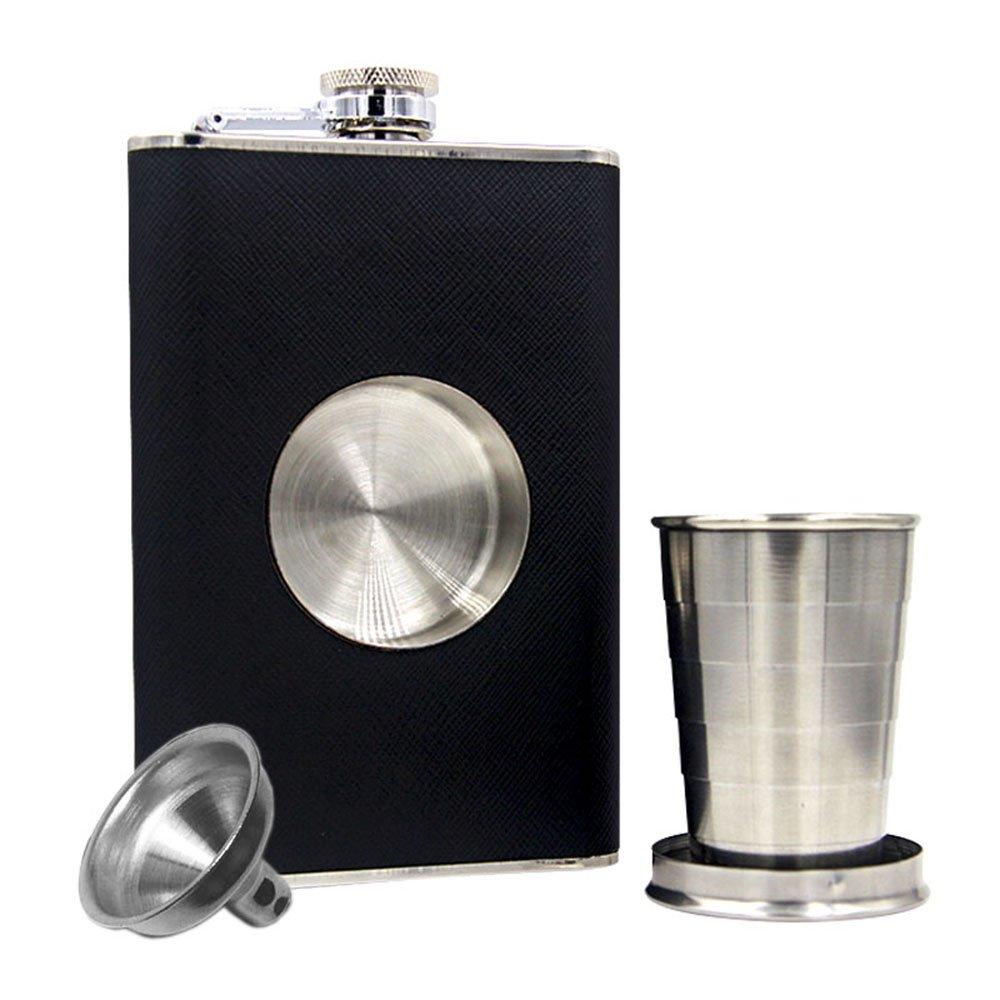 Shot Glass /& Funnel Set Built-in Collapsible 2 oz JUJOR Shot Flask 8 oz