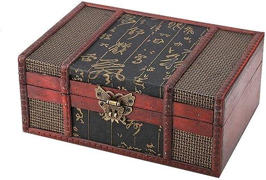 Almacenamiento de Madera Vintage, Caja de Madera Retro Caja de Almacenamiento de Organizador de Joyas de Gran tamaño: Amazon.es: Hogar
