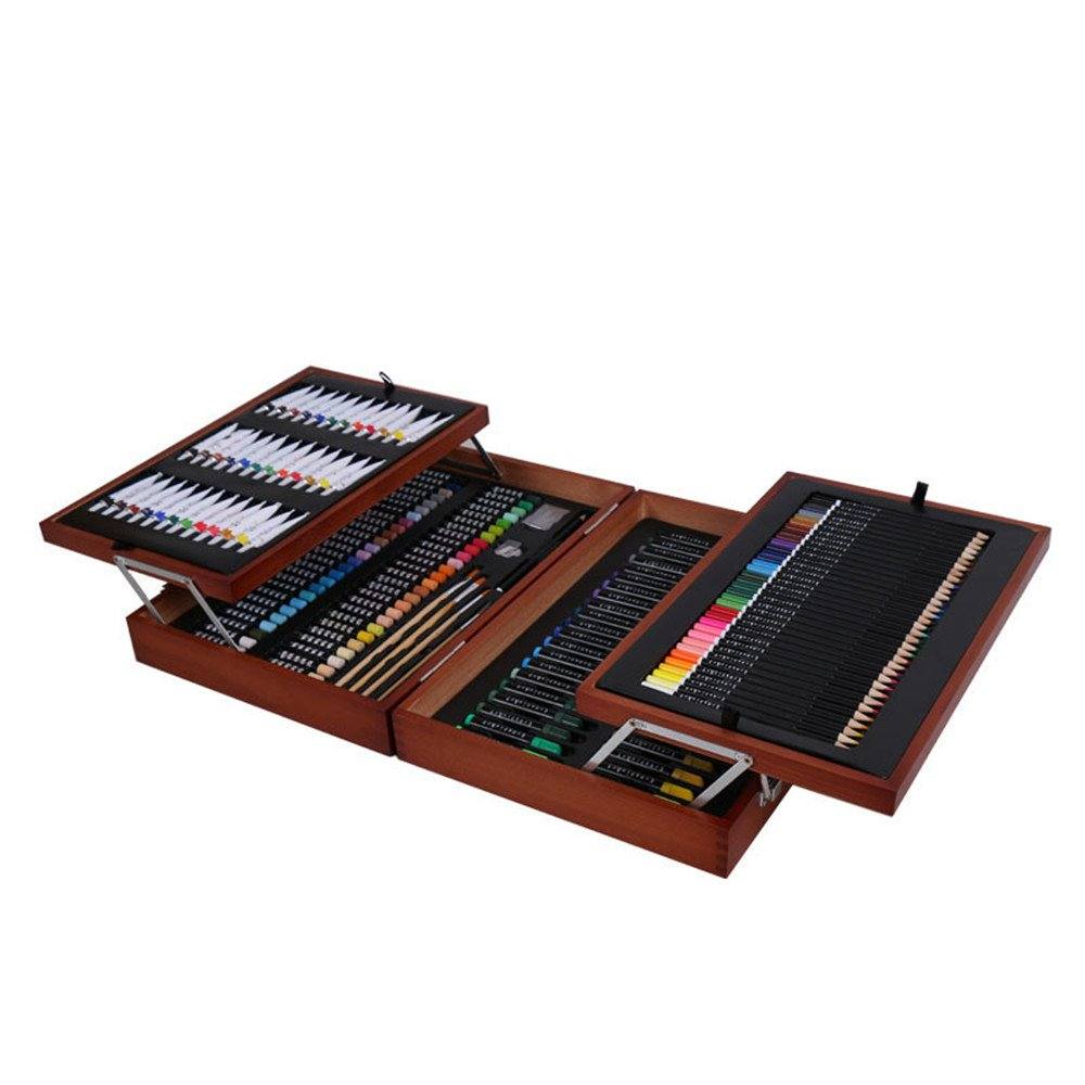 Ybriefbag Wooden Art Set Children's Drawing 174 Pieces Set Wooden Art Supplies Gift Box Set Toolbox Watercolor Brush Art Supplies for Drawing