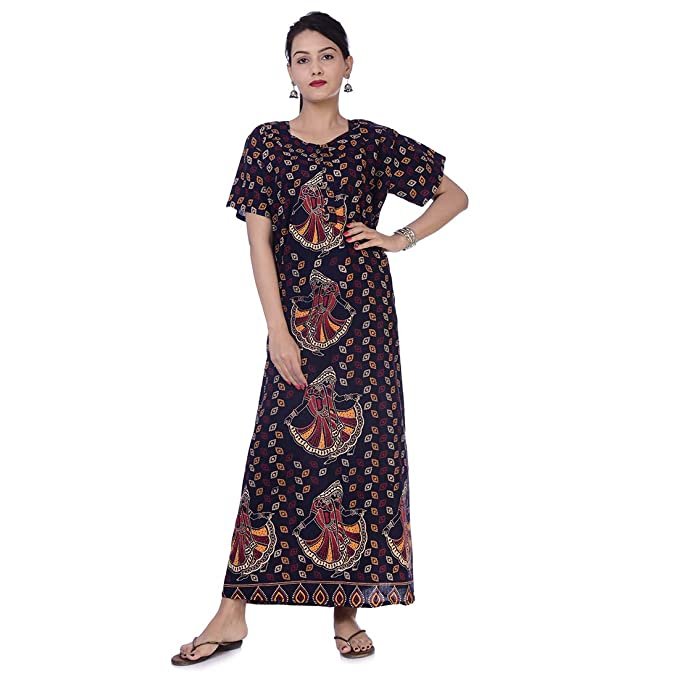 26cff6cd19 APRATIM Indian Women Cotton Night Gown Bikini Cover Plus Size Comfy Evening  Holiday Night Gown House Dress Blue: Amazon.in: Clothing & Accessories