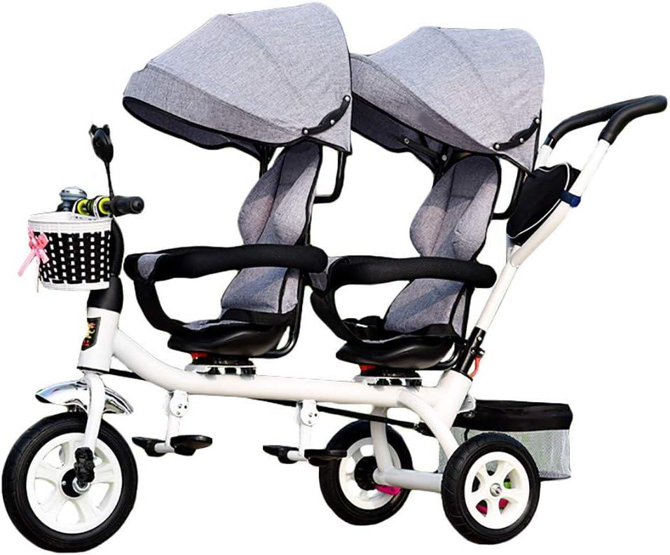 CHEERALL Niños 4 en 1 Trike Doble, Ligero, Triciclo de 3 Ruedas con Bicicleta para bebé, Carrito de bebé con Dos Asientos para niños de 1-7 años,Grey