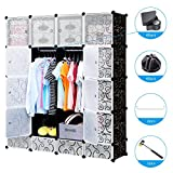 Famistar Storage Cube Plastic Organizer, DIY Modular Closet Cabinet, Bookcase, with Doors and Rods, Includes Rubber Mallet and Magnetic Buckles
